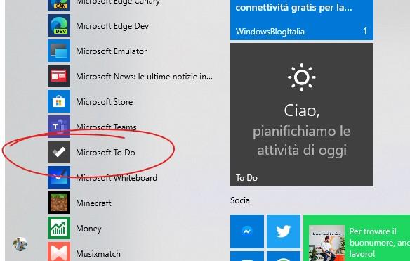 Microsoft To-Do nuova icona grigia nel menu Start