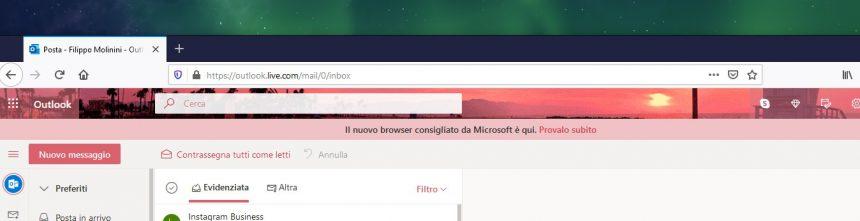 Microsoft banner Edge in Outlook su Mozilla Firefox