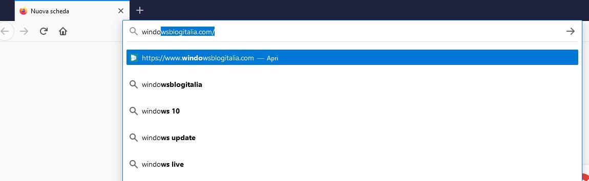 Nuova barra degli indirizzi Mozilla Firefox 75