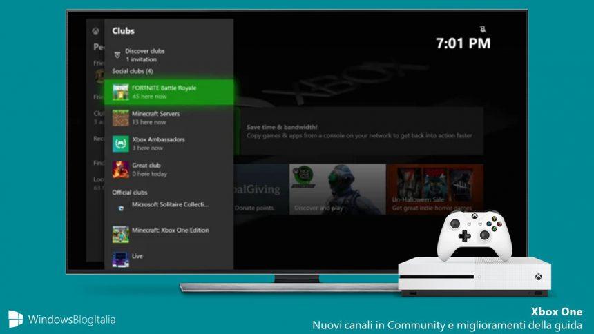 Nuovi canali in Community e miglioramenti della guida Xbox One 2005