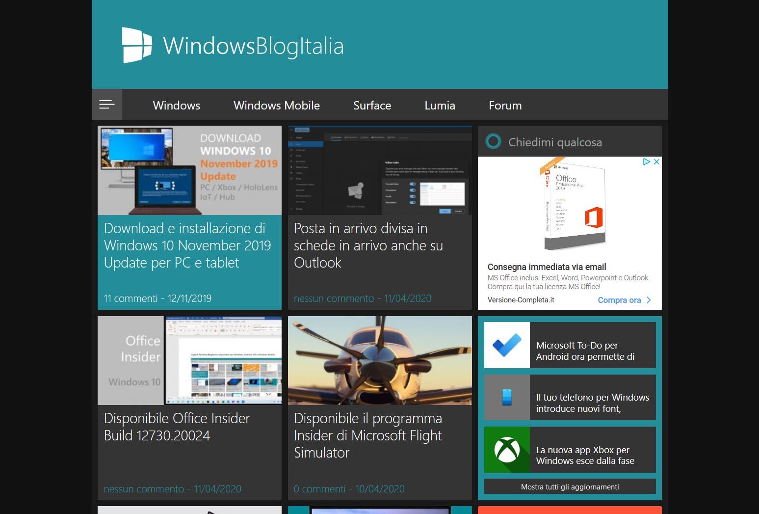 WindowsBlogItalia tema scuro