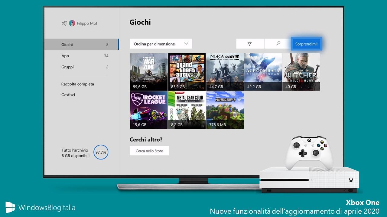 Xbox One aggiornamento di aprile 2020 nuove feature