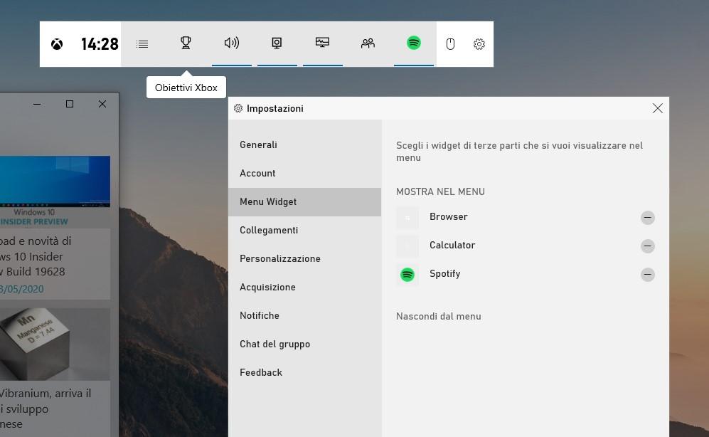 Menu Widget nelle impostazioni di Barra di Gioco Xbox per Windows 10