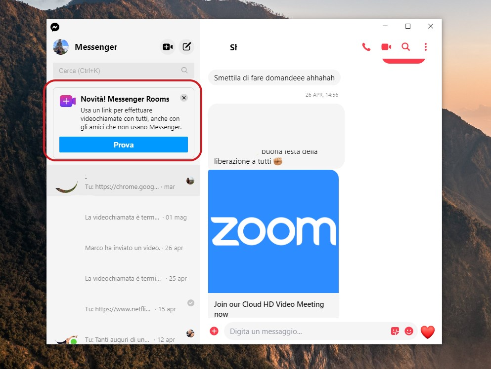 Messenger Rooms per Windows 10