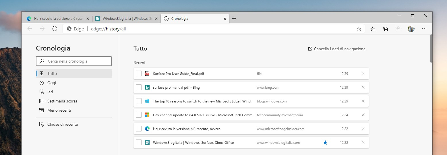 Microsoft Edge checkbox nella cronologia e preferiti