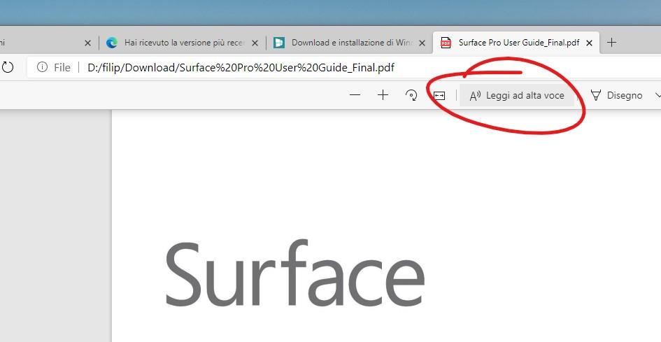 Microsoft Edge lettura ad alta voce nei file PDF