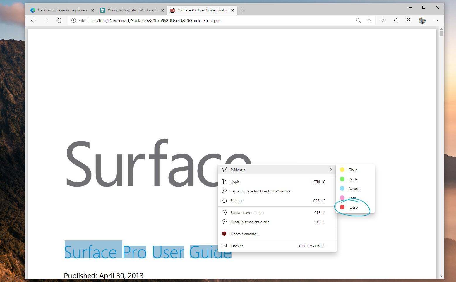 Microsoft Edge nuovo colore rosso nell'evidenziatore dei PDF