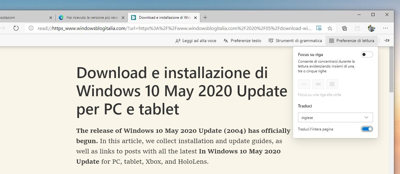 Microsoft Edge traduzione pagina web in modalita lettura immersiva