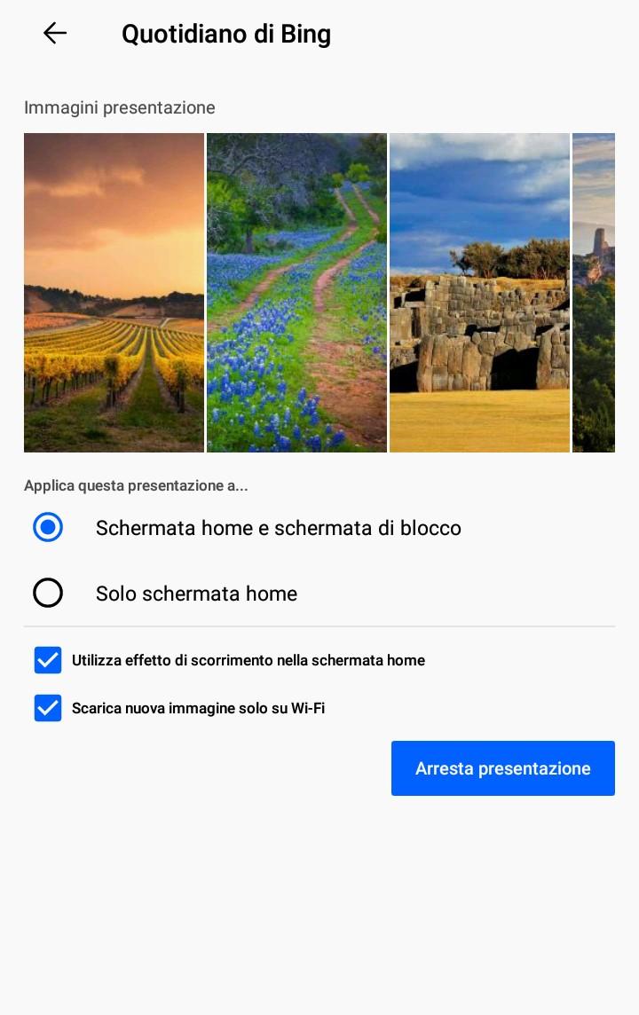 Microsoft Launcher Preview sfondo quotidiano di Bing