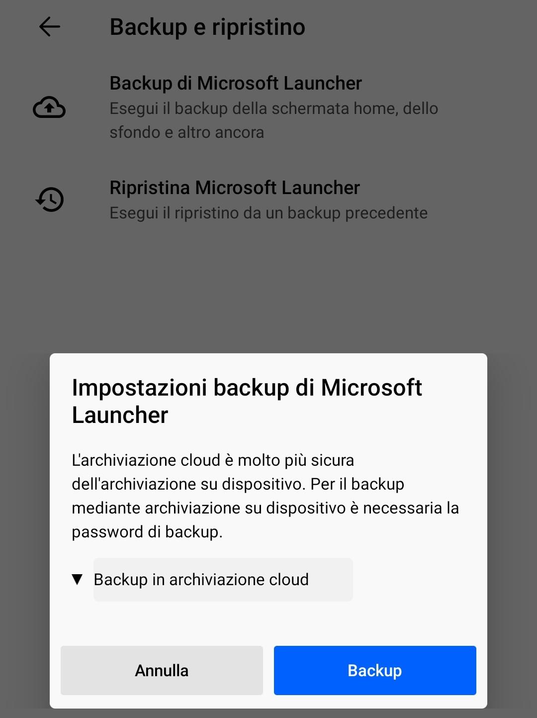 Nuovo Microsoft Launcher Preview impostazioni di backup