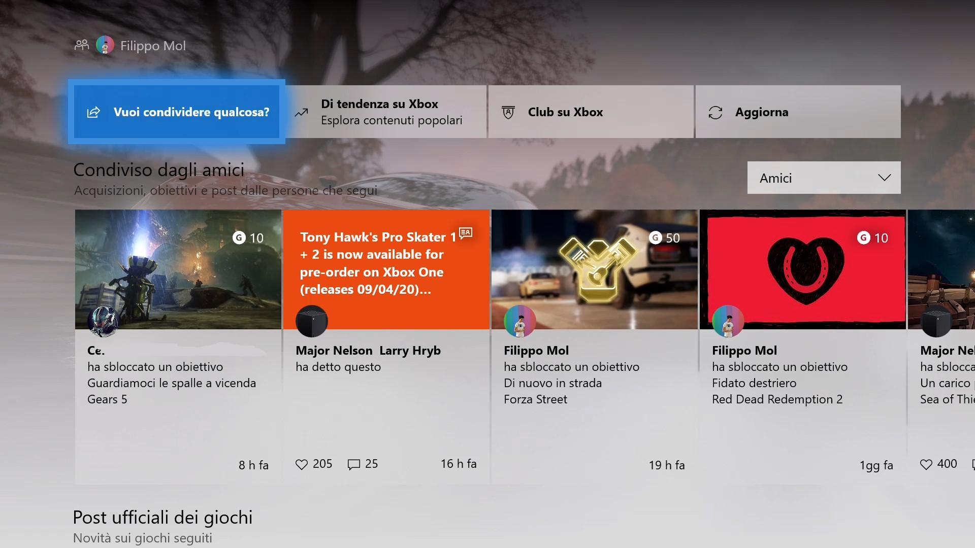 Pagina Community aggiornata Xbox One versione 2005
