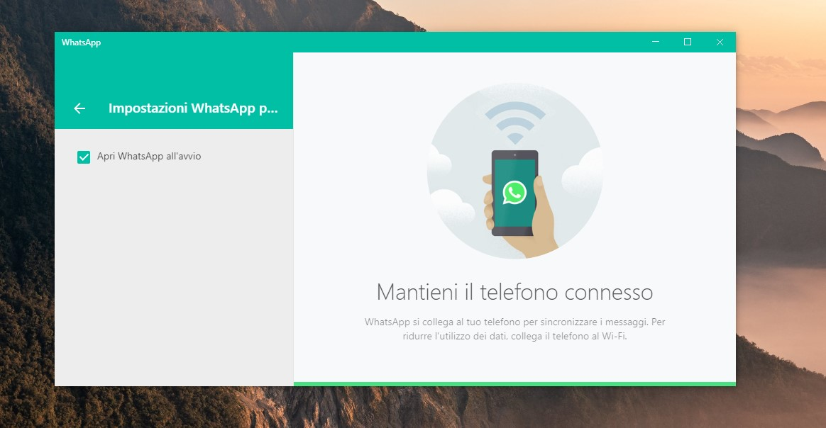 WhatsApp Desktop apertura all'avvio del PC con Windows 10