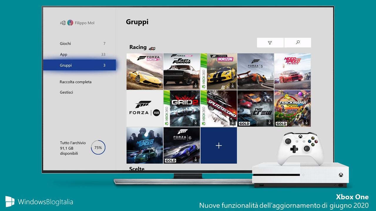Xbox One aggiornamento di giugno 2020