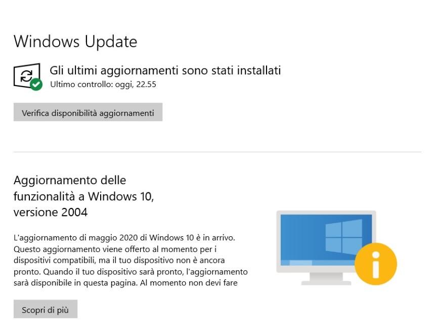 Windows Update - Aggiornamento delle funzionalità di Windows 10 in arrivo