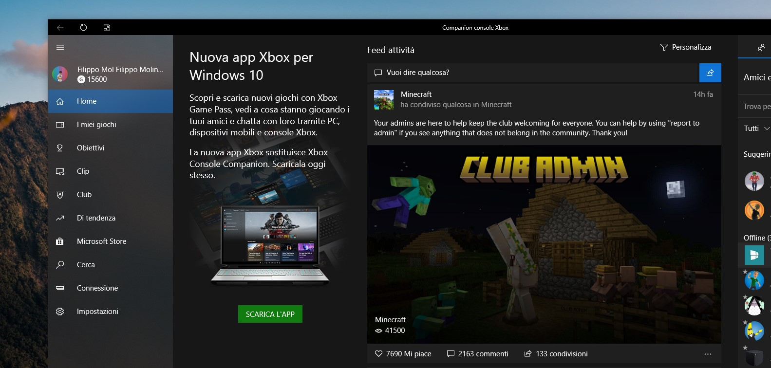 Companion console Xbox banner per il download della nuova app Xbox per Windows 10