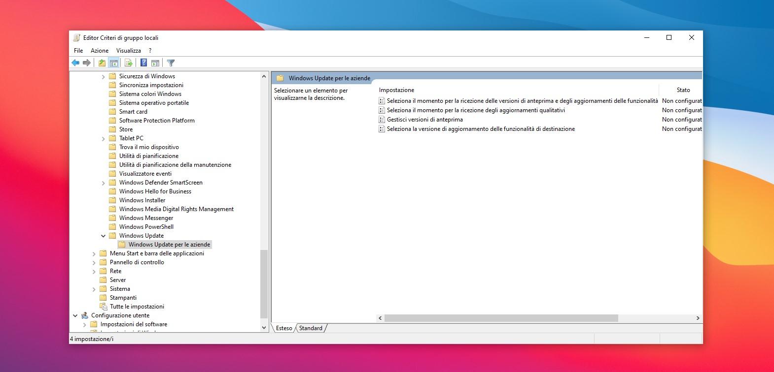 Editor Criteri di gruppo locali impostazioni sospensione aggiornamenti di Windows Update