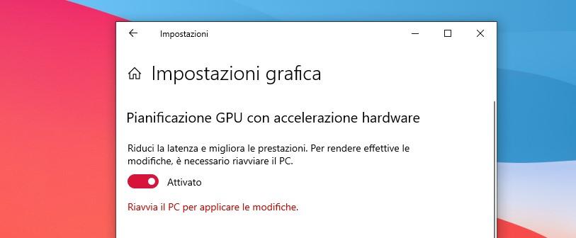Impostazione Pianificazione GPU con accelerazione hardware in Windows 10