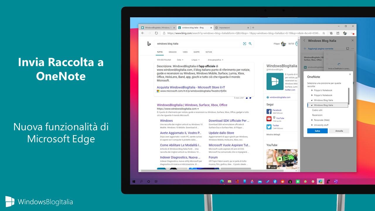 Invia Raccolta a OneNote in Microsoft Edge
