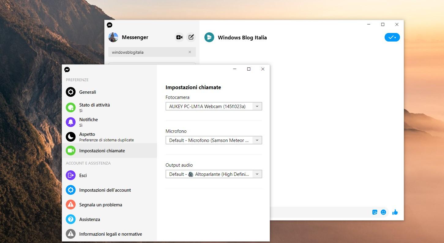 Messenger per Windows 10 nuove impostazioni per le chiamate