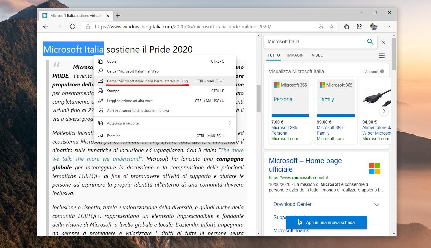 Microsoft Edge con barra di ricerca laterale di Bing