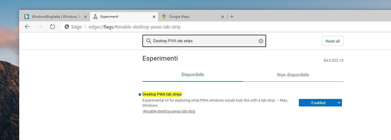 Microsoft Edge flag per abilitare le PWA con le schede