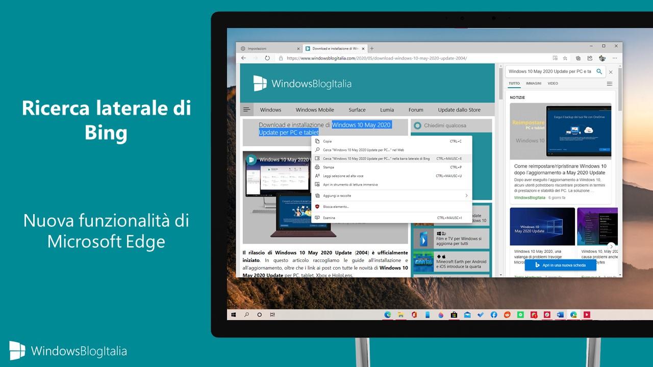 Microsoft Edge nuova ricerca laterale di Bing