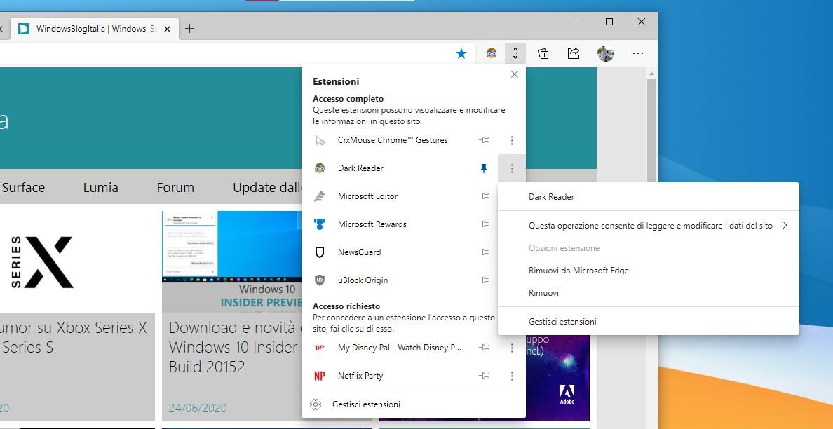 Microsoft Edge pulsante Estensioni