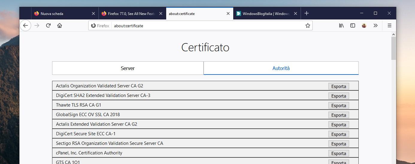 Mozilla Firefox 77 nuova pagina about certificate