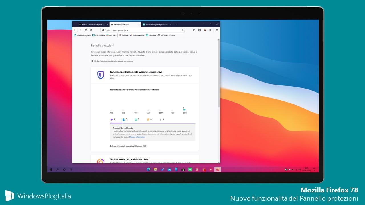 Mozilla Firefox 78 nuove feature del Pannello protezioni