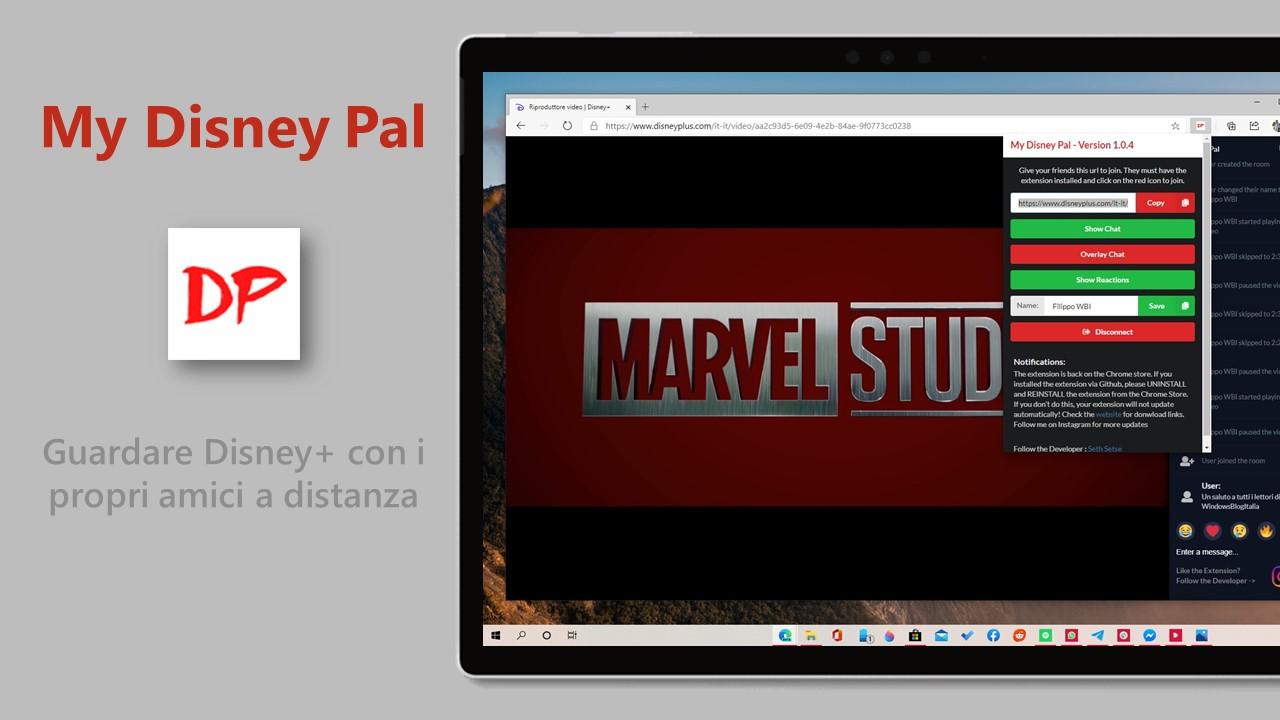 My Disney Pal estensione per Edge e Chrome per guardare Disney+ con i propri amici