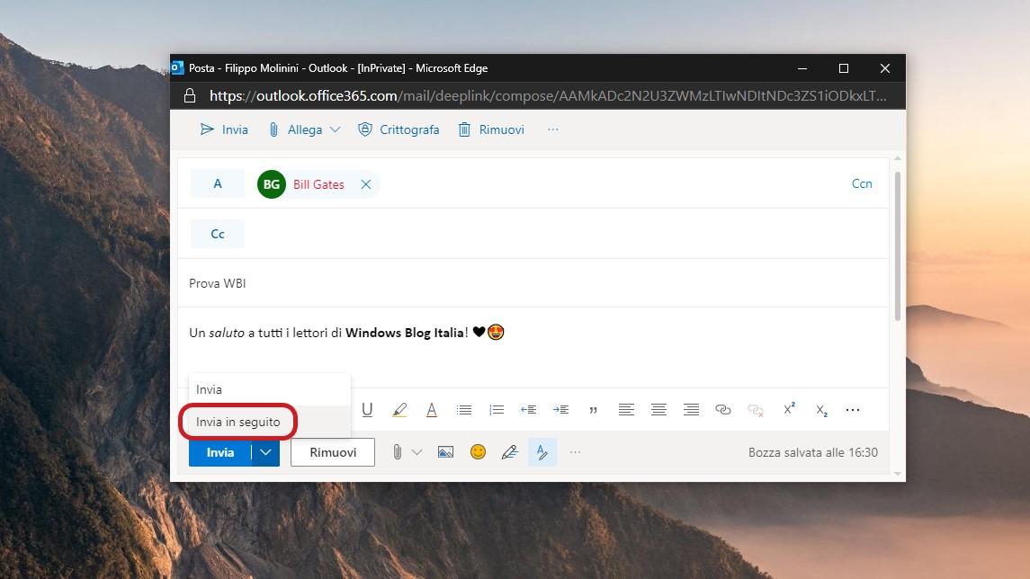 Opzione Invia in seguito in Outlook.com