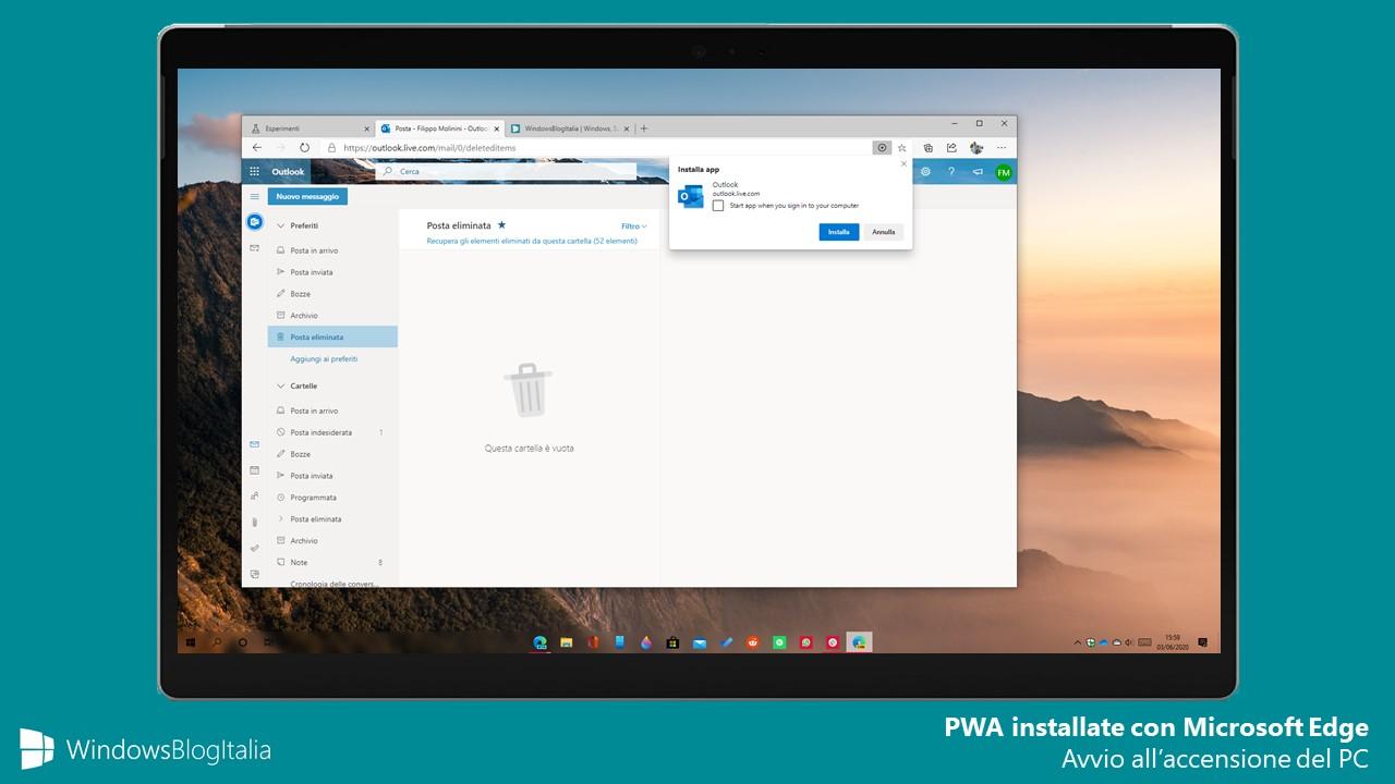 PWA installate con Microsoft Edge possono ora essere aperte all'avvio