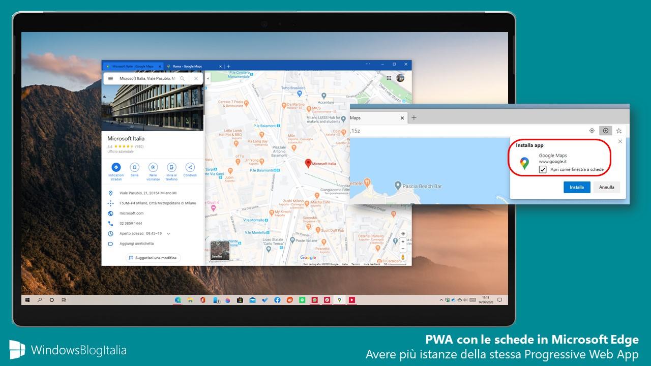Progressive Web App con le schede in Microsoft Edge