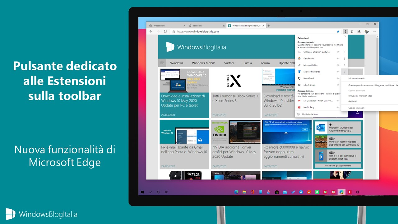 Pulsante dedicato alle Estensioni sulla toolbar in Microsoft Edge