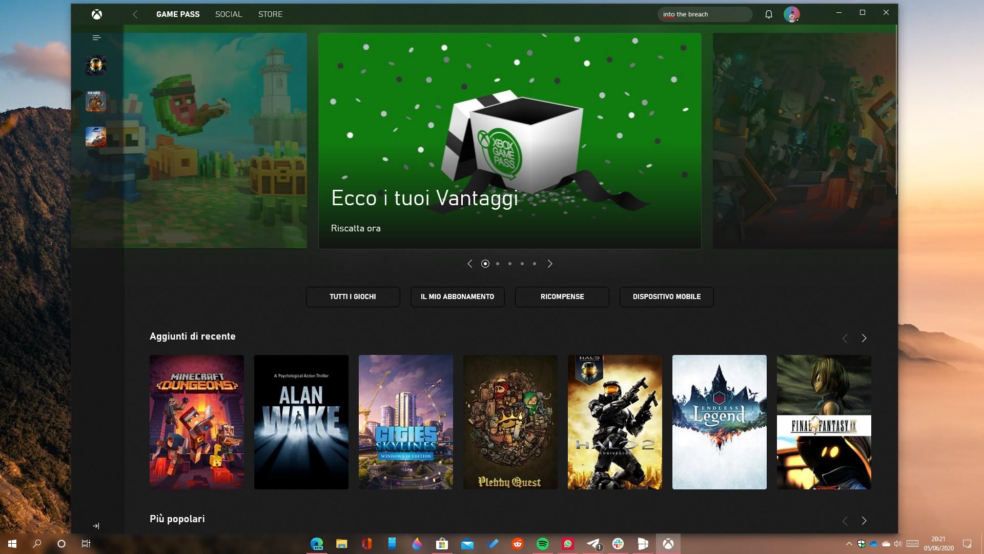Xbox app per PC nuovo design homepage aggiornamento 2006