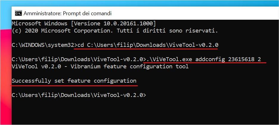 Abilitare il nuovo menu Start di Windows 10 con lo strumento ViveTool
