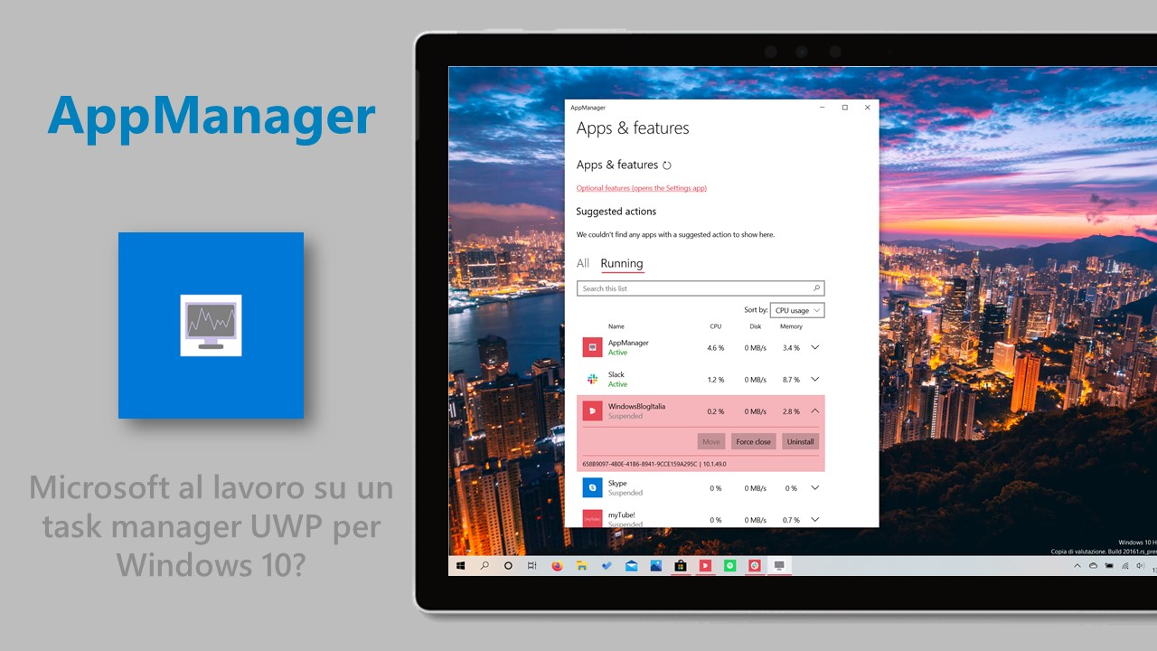 AppManager task manager UWP per Windows 10