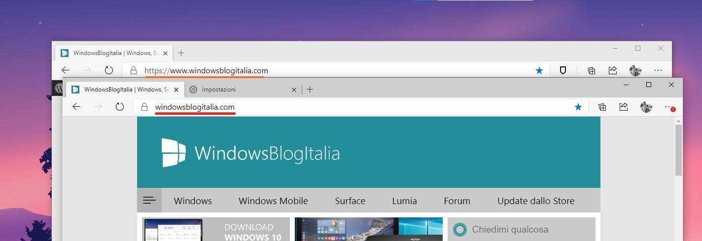Microsoft Edge con URL parzialmente nascosto