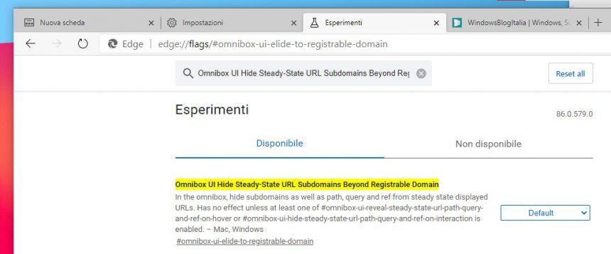 Microsoft Edge con flag per visualizzare o meno l'intero indirizzo URL dei siti
