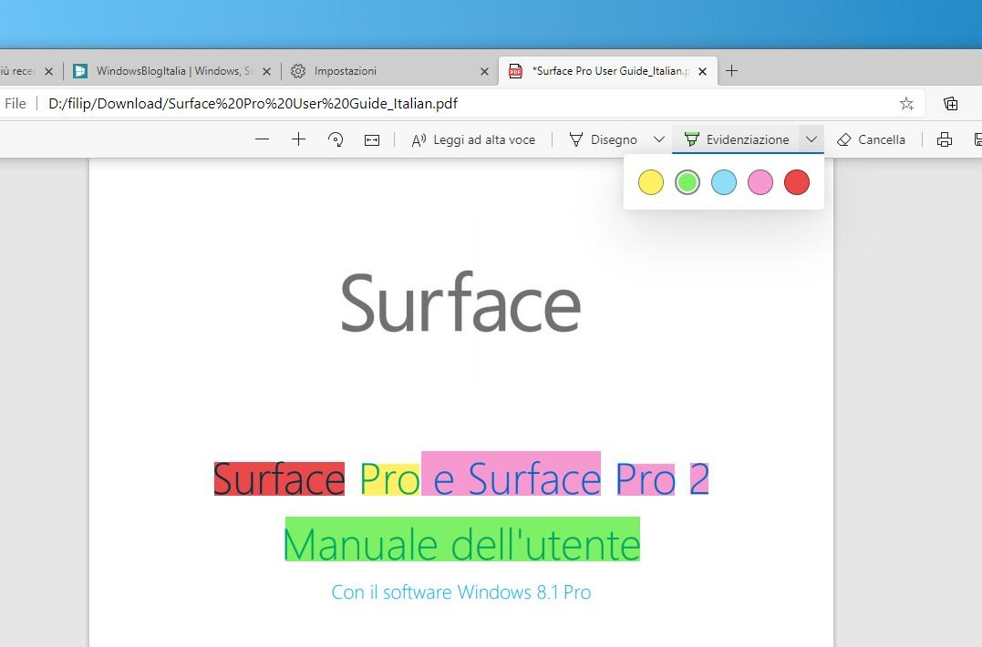 Microsoft Edge evidenziatore nel lettore PDF