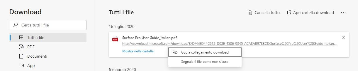 Microsoft Edge segnalazione file scaricati