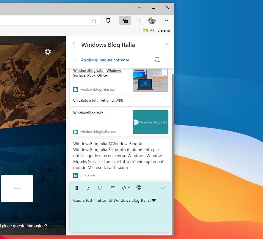 Note nelle raccolte in Microsoft Edge 84