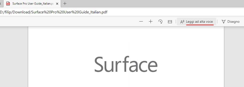 Opzione Leggi ad alta voce anche nel lettore PDF di Microsoft Edge