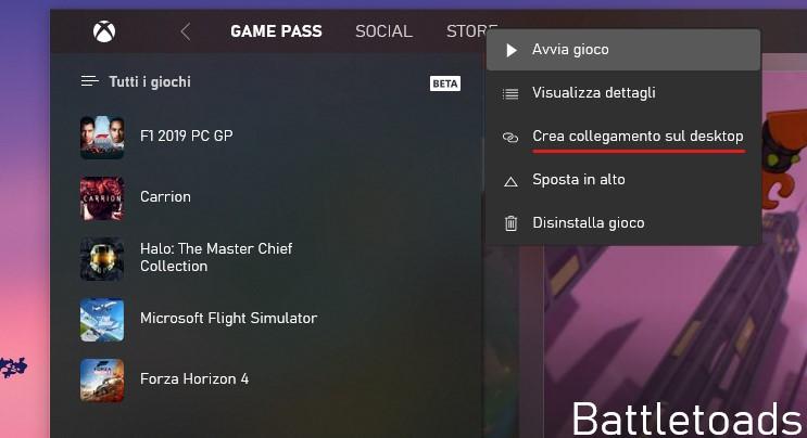 App Xbox per Windows 10 crea collegamento sul desktop a un gioco