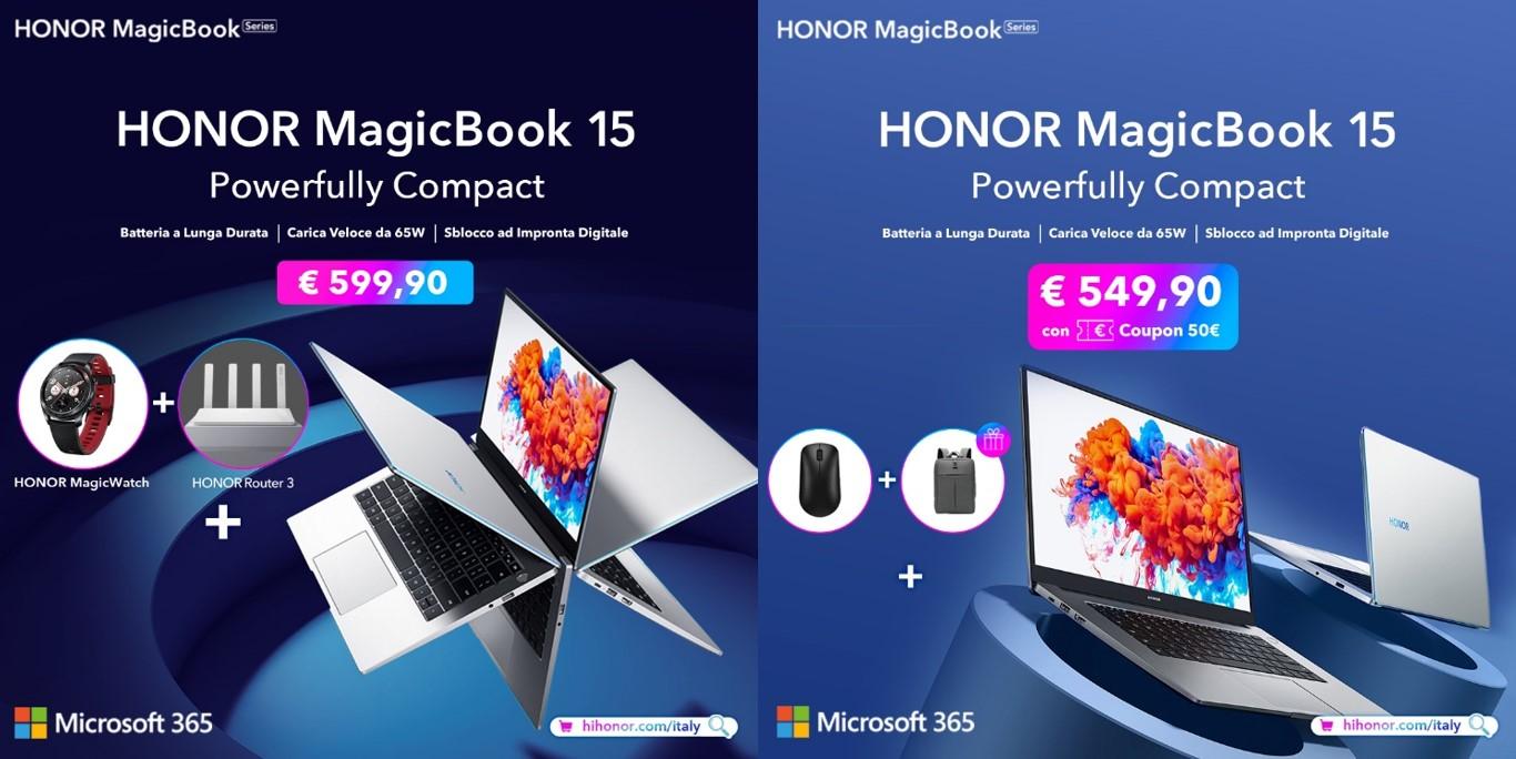 HONOR MagicBook 15 offerte per il lancio