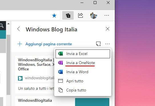 Microsoft Edge invio della raccolta a OneNote