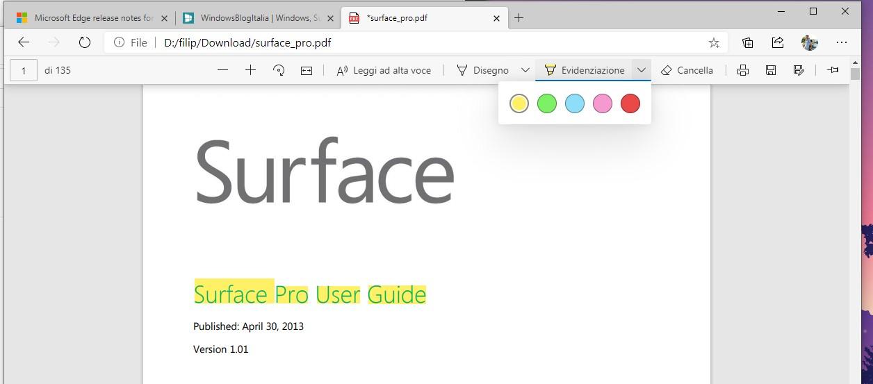 Microsoft Edge strumento evidenziatore nel lettore di file PDF