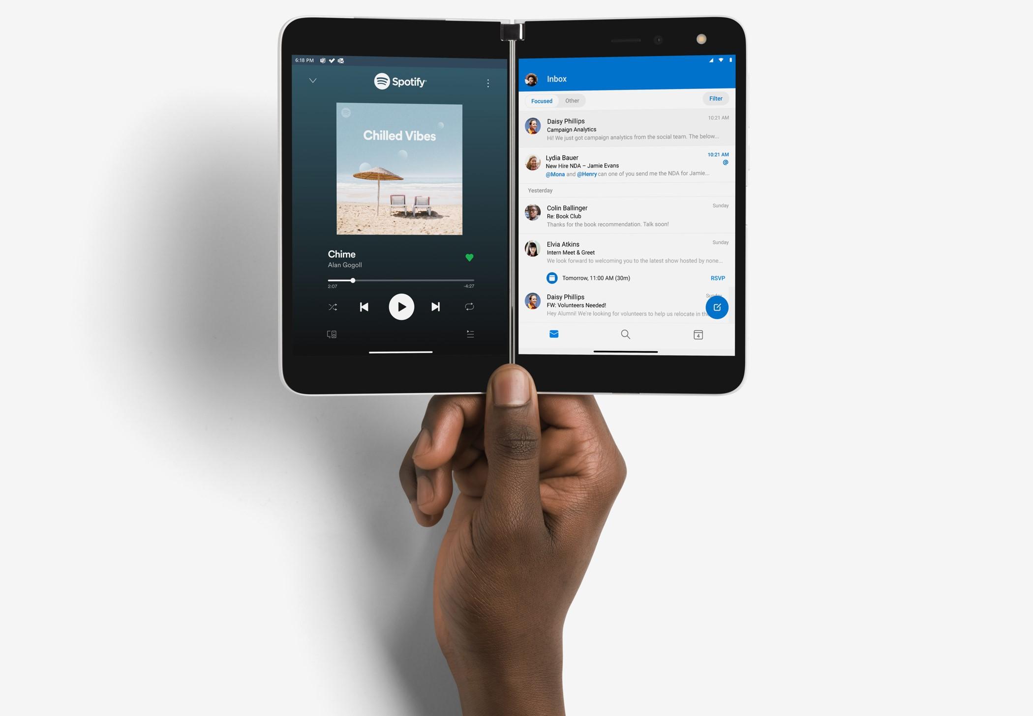 Microsoft Surface Duo ufficiale due app aperte