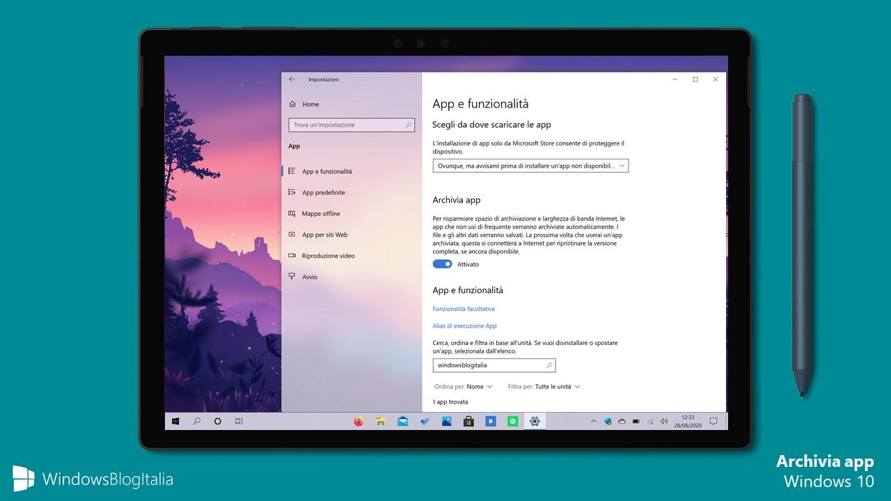 Opzione Archivia app in Windows 10