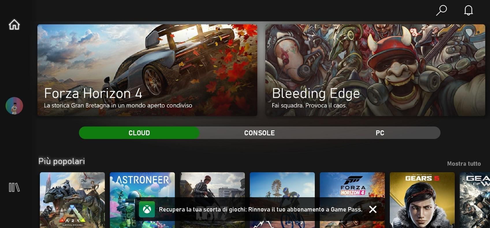 Xbox Game Pass (Beta) per Android con sezione Cloud